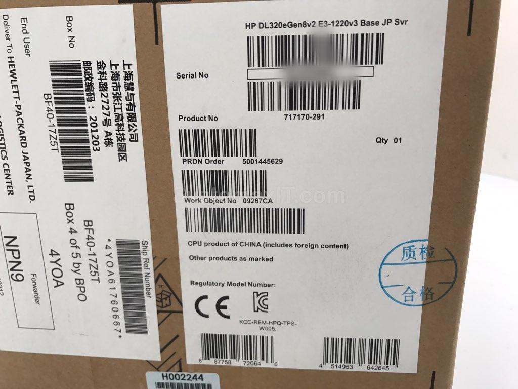 Details about 717170-291 - HPE ProLiant DL320e Gen8 v2 E3-1220v3 1P 4GB-U  B120i Server