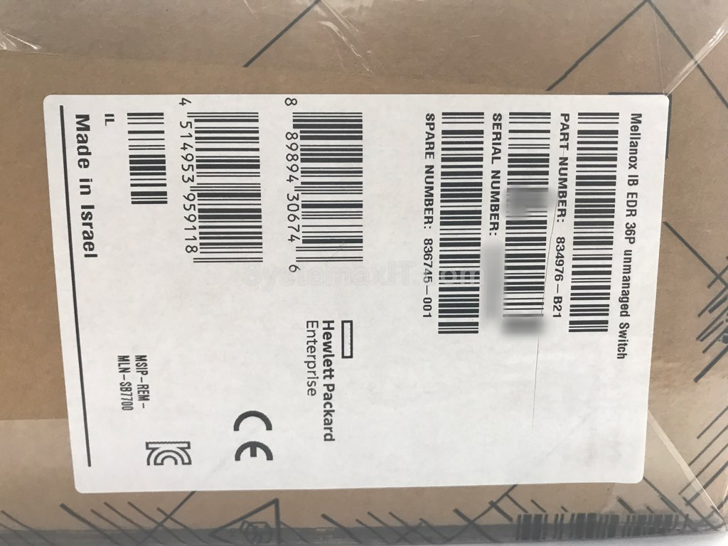 Details about 834976-B21 - HPE Mellanox IB EDR 36P 100Gb/s QSFP28 Unmanaged  InfiniBand Switch